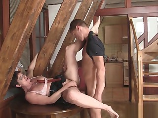 Frying girlfriends mother seduces son inlaw