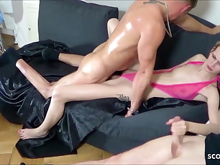 Two Guys Tricked Skinny German Teen Jenny into Rough Threesome