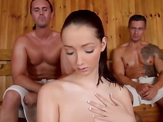 Hot threesome sauna sex
