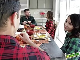 The teens decide to pleasure each others dads They crawl under the table and stick their thick turkey basters less their mouths
