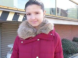 GERMAN SCOUT - Teen Gina bei Strassen Casting AO gefickt