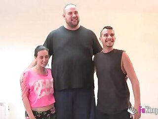 A teen, a GIANT and a broad in the beam dick! People's porn elbow FAKings!