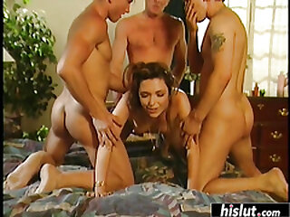 Horny chick craves for a gang bang