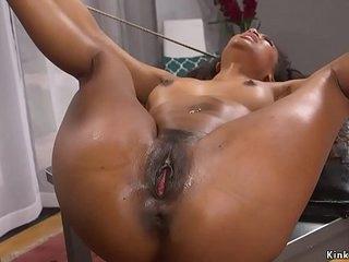 Dude bangs ebony boss in bondage