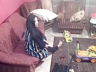 Spy camera records couple fucking in the living room. JAV245